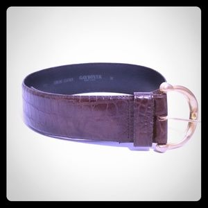 Gayboyer New York Brown Textured Leather Belt